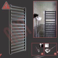 """500mm(w) x 1165mm(h) """"Denbigh"""" Designer Black Electric Heated Towel Rail - 300W"""
