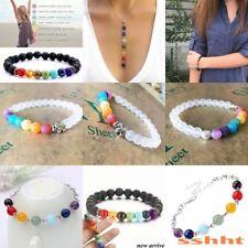 7 Chakras Healing Beaded Bracelet Natural Lava Stone Diffuser Bracelet Jewelry