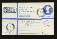 Isle of man 1974 regist.stationery 67P + 5p... SANTON village postmark