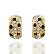 Ohrringe Creolen Zirkonia Kristall Gold 750er 18K vergoldet Ohrstecker Damen NEU