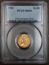 1926 Gold $2.5 Indian Quarter Eagle, PCGS MS-64