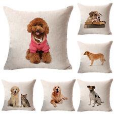 """Dog 18"""" Square Cotton Linen Pillow Case Sofa Throw Cushion Cover Home Decor"""