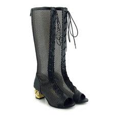 Roman Womens Peep Toe Mesh Hollow Block Heels Mid Calf Boots Sandals Shoes Sexy