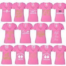 Mother's Day t shirt Queen Wife Mom Boss T-shirt Super V-neck Grandma tshirt Pnk