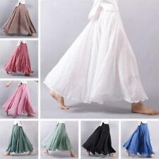 Women Double Layer Linen Pleated Maxi Long Skirt Gypsy Boho Hippie Beach Dress