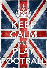 KC23 Vintage Style Union Jack Keep Calm Play Football Funny Poster A2/A3/A4