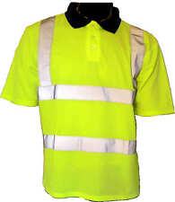 Hi Viz alta Visibilidad Vis Camiseta Polo Camiseta De Manga Corta EN20471 Azul Marino Cuello