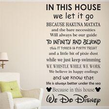 Hacemos Disney reglas de la casa de vinilo el arte de pared calcomanía citar | Kids Familia | wqb17