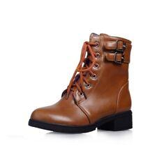 Womens Punk Plush Warm Buckle Flat Cotton Short Boots Snow Boots Martin Shoes