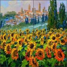 Tuscan Tile Backsplash Senkarik San Gimignano Sunflower Art Ceramic Mural MSA238