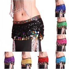 Women Waist Chain Belly Dance Hip Scarf Dancing Coins Sequin Skirt Belt Wrap US
