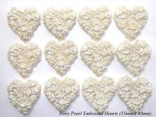12 Avorio Perla ZUCCHERO ROSE IN RILIEVO Cuori Wedding cake cupcake decorazioni 35mm