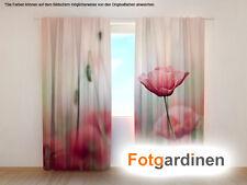 "Fotogardinen ""Mohn"" Vorhang 3D Fotodruck, Foto-Vorhang, Maßanfertigung"