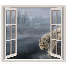 Grey Wolf 3D Window Wall Sticker Winter Landscape Wall Decal Bedroom Home Decor