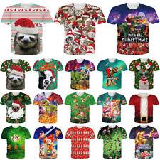 Funny Christmas Cat Animal Casual 3D Print T-Shirt Women Men Short Sleeve Tee