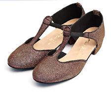 Ladies Red/Gold Multi Glitter Dance Greek Sandal Jive Cerco Salsa Shoe By Katz