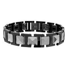 Men Women 14MM Tungsten CarbideTwo Tone H & Square Link Magnetic Bracelet