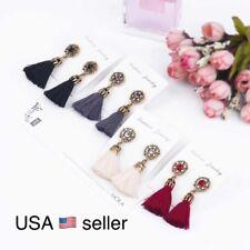 Vintage Thread Tassel Fringe Gold Plated Drop Dangle Flower Party Earrings E15