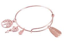 1PCS Rose Gold Plate Charm Expandable Wire Bracelet Bangle