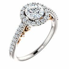 1ct Diamond Halo Vintage Engagement Ring Filigree 14k Rose White Gold Round Cut