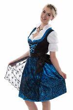 Dirndl Set 3 tlg.Trachtenkleid Kleid, Bluse, Schürze, Gr. 34-54 Neu OVP SchBlau