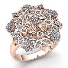 1carat Round Cut Diamond Ladies Flower Bouquet Engagement Ring 18K Gold