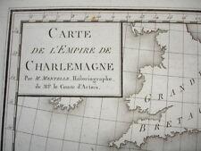 CARTE DE L'EMPIRE DE CHARLEMAGNE XVIIIe Gravée par Tardieu 39X27 Parfait état !