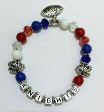 Personalised Name KNIGHTS FOOTBALL TEAM Bead Bracelet 3 Charms Jewellery