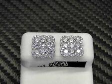 DIAMOND STUDS EARRING 14K WHITE GOLD ROUND CUT PAVE SET