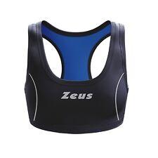 Top volley zeus donna elastico fitness corsa sportivo nero/blu xs m l xl xxl