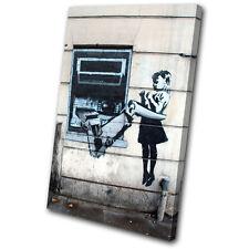 Banksy Street Cash Machine SINGLE CANVAS WALL ART Picture Print VA