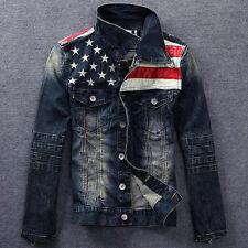 2018 Mens American flag  Vintage Denims  jean jacket washed denim coat outwear