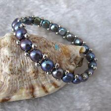 "7.5"" 7075mm Peacock Freshwater Pearl Bracelet Elastic——MORE COLORS"