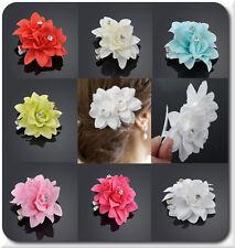 Flor de pelo pelo clip perchero con 2 flores de tela pedrería boda blanco rosa verde