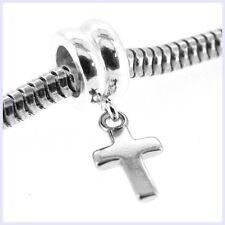 STR Silver Holy Christ Christian Cross Dangle Bead for European Charm Bracelet