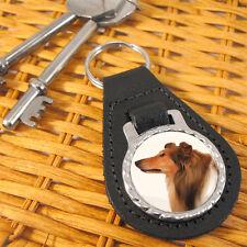 Rough Collie Dog Bonded Leather Key-fob/Metal Keyring