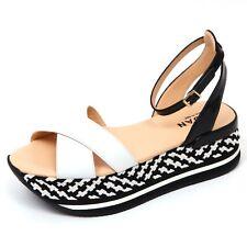 D0278 sandalo donna HOGAN fasce incrociate nero/bianco sandal shoe woman