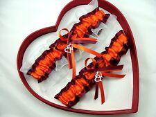 NEW Orange Burgundy White Wedding Garter SELECT Single,Set,Reg,Plus Size,Charms