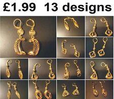 Earrings medium size Gold Coloured Pierced Fashion Jewellery UK SELLER
