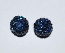 2 10mm Swarovski Pave Ball Beads Montana Blue - AS71
