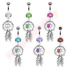Gem Dream Catcher Belly Button Dangle Navel Bar Ring Body Piercing Jewellery