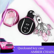 Quicksand Amber Key Fob Case Chain Holder Cover For Mini Cooper F55 F56 F54 F60