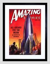 COMICS AMAZING STORIES ROCKET SHIP MOON SPACE SCI FI FRAMED ART PRINT B12X3276