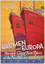 TU70 Vintage German Germany 1929 Cruise Ship Bremen Europa Travel Poster A4