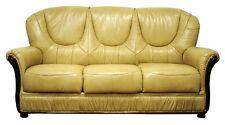 SALOTTO divano classico  IN VERA PELLE 3 POSTI CREMA PREZZO SPECIALE scorniciato