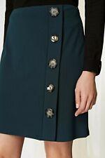 Ex Wallis 8-18 Dark Green A-Line Button Skirt Smart Work Formal Wear