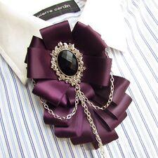 Blue & Purple Vintage Polyester Elegant Career Womens Shirt Clip Tassel Bow Tie