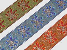 "3Yd Floral Jacquard Trim 2"" wide Woven Border Sew Ribbon T261"