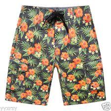 Men Board Shorts Swim Beach wear Trunk Stone wash Heavy Fabric Orange Floral