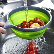 Folding Collapsible Silicone Colander Strainer Kitchen Fruit Filter Basket J